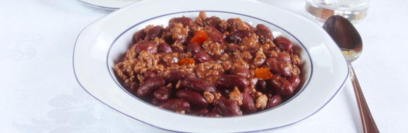 Chili con carne pronto in tavola